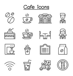 Cafe coffee icon set in thin line style vector