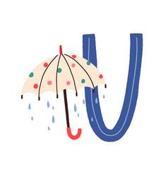 Capital letter u childish english alphabet with vector