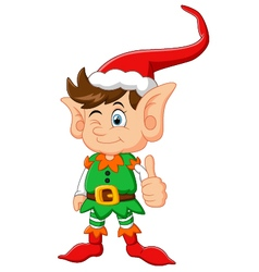 cartoon elf giving thumb up vector image