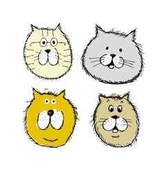 Cat and dogs faces sketch for your design vector