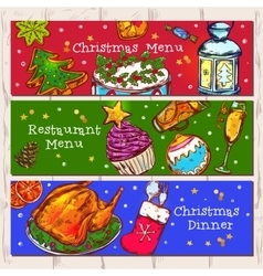 Christmas Menu Banners Set vector image