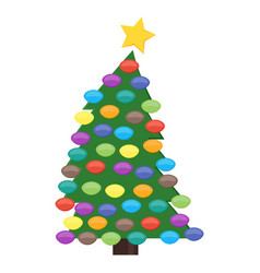 christmas tree with christmas balls vector image