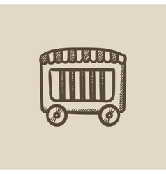 Circus wagon sketch icon vector