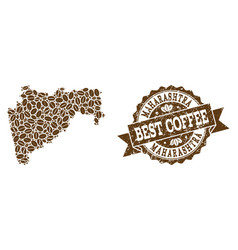 Collage map of maharashtra state with coffee beans vector