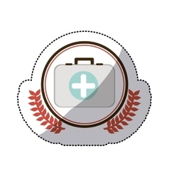 Color sticker with firts aid kit with symbol cross vector