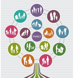Conceptual Family Background with Silhouettes vector image vector image