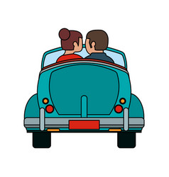 couple in vintage car vector image