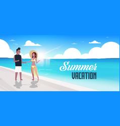 couple man woman sunrise beach summer vacation mix vector image
