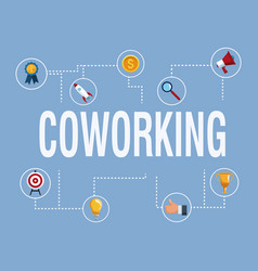coworking banner with icons vector image