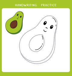 cute avocado for coloring book vector image