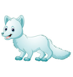 cute cartoon arctic fox walking vector image