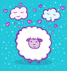 Cute sheep on a blue background vector
