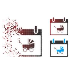 Dispersed pixel halftone baby carriage calendar vector
