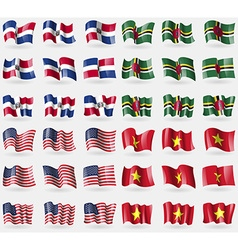 Dominican Republic Dominica USA Vietnam Set of 36 vector