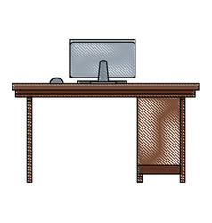 Drawing office desk computer workspace furniture vector