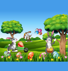 easter background with cartoon rabbits playing in vector image
