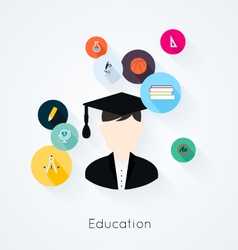 Education concept flat icons set vector image vector image