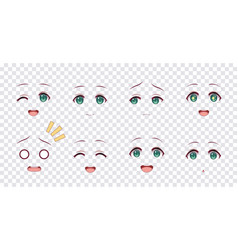 emotions green eyes of anime manga girls vector image