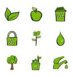 Environment protection icons set cartoon style vector