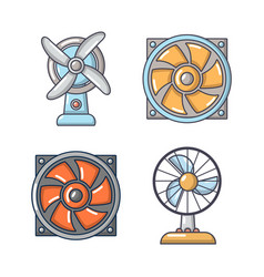 Fan icon set cartoon style vector
