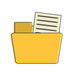 file folder with documents coming out icon image vector image