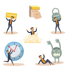 Flat businessman deadline overwork set vector