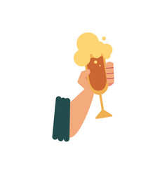 flat icon with male hand holding glass of beer vector image