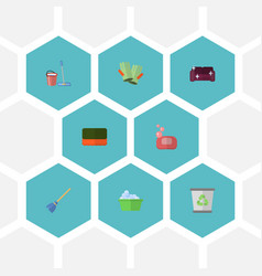 Flat icons besom mopping sofa and other vector
