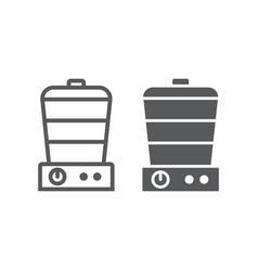 food steamer line and glyph icon electric and vector image