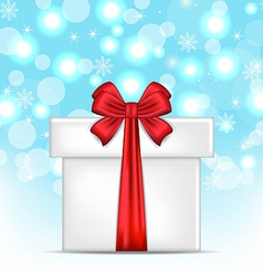 Gift box with red bows on glowing background vector image