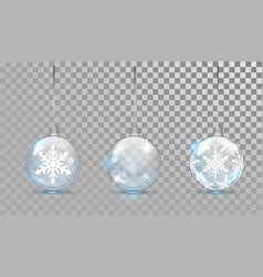 Glass christmas balls set with snowflake pattern vector