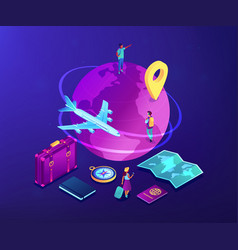 Global travelling isometric 3d concept vector