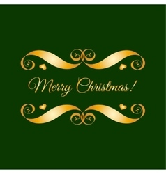 gold Merry Christmas badge over green vector image