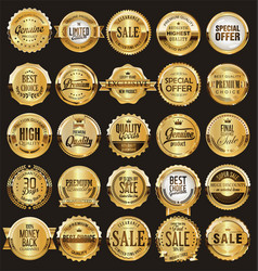 golden retro sale badges and labels collection 1 vector image