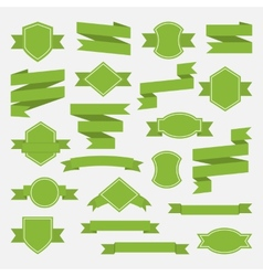Green ribbons and label set in flat stylePart II vector