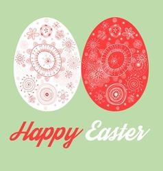 Greeting card with painted Easter eggs on green vector