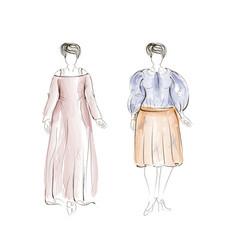 hand-drawn fashion plus size model vector image