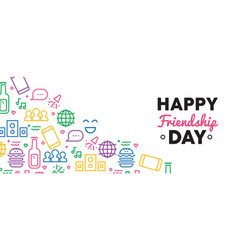 happy friendship day fun party icon web banner vector image