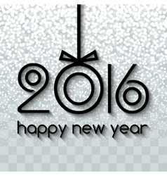 Happy New Year 2016 Creative Black Snowing vector image