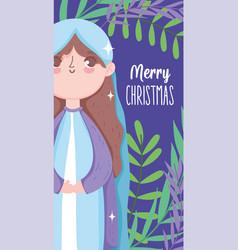 Holly mary nativity happy merry christmas vector