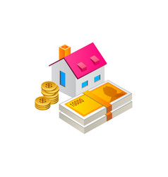 house with money cash and coin vector image