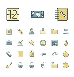 Icons thin blue business bank vector