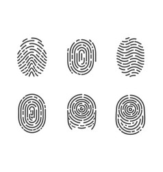 identification fingerprints sketches set vector image