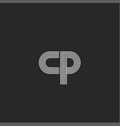 initials logo cp letter monogram parallel thin vector image