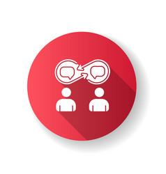 Interpersonal relationship red flat design long vector