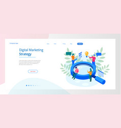 isometric digital marketing strategy web banner vector image