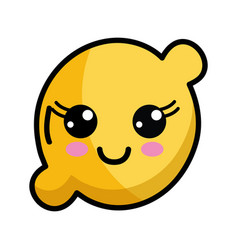 Kawaii cute happy lemon fruit vector