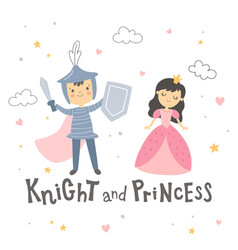 knight and princess standing on white background vector image