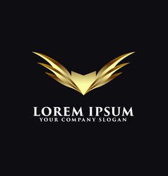 Luxury wings logo emblem design concept template vector