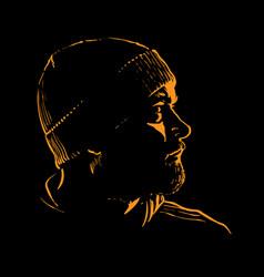 Man portrait silhouette in backlight avatar vector